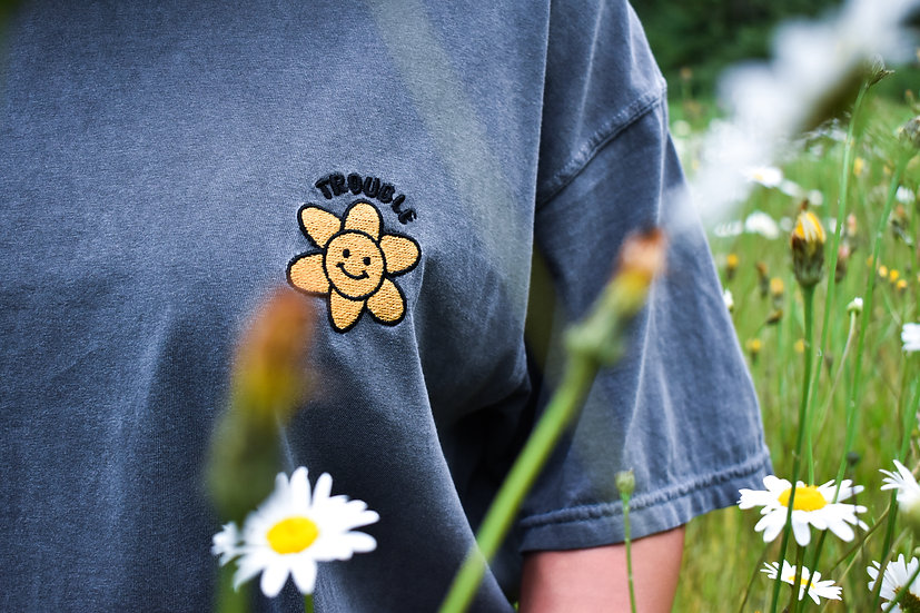 Embroidered Flower Power Tee Shirt