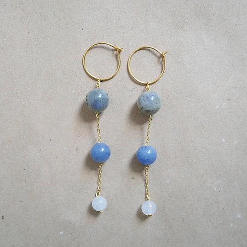 Ella chunky øreringe, grå/blå nuance