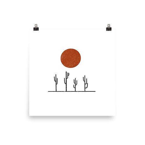 Saguaros, Red Sun Print