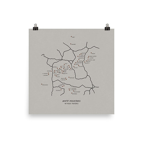 48 4.000 Footers, White Mountains Map Print