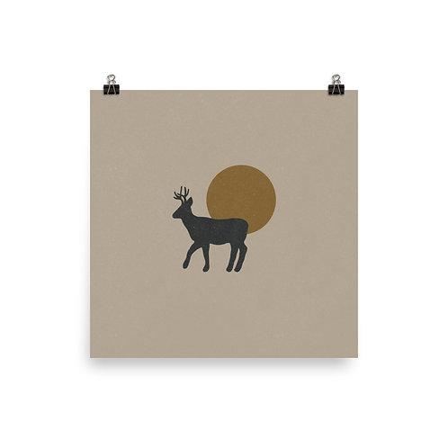 Deer and Sun Print
