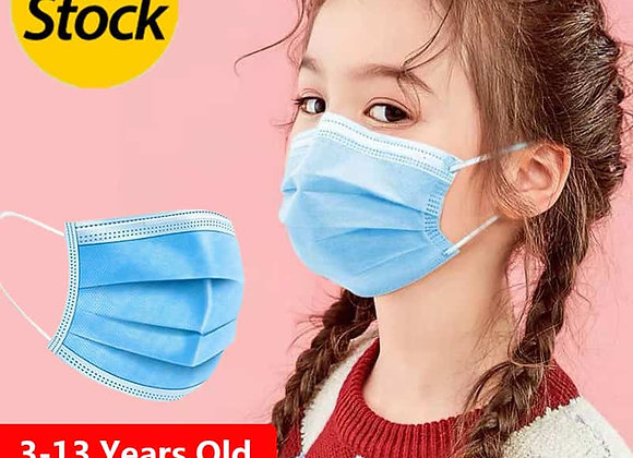Child/Kids Face Mask, 3 layer Disposable Elastic Mouth Soft Breathable Blue Soft