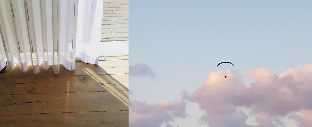 וילון נוגע בפרקט עץ טבעי ומצנח רחיפה בשמיים