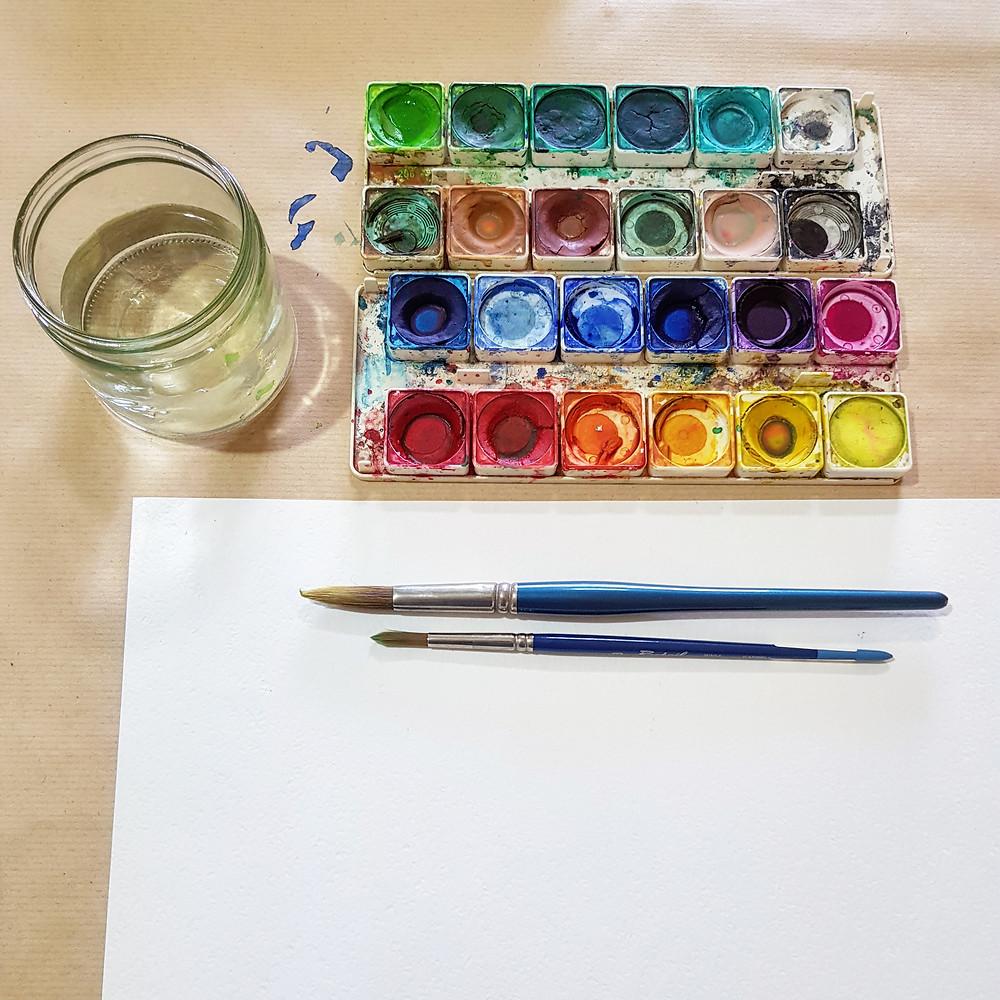 ככה מתחילים, צבעי מים, מכחולים, מים ונייר חלק