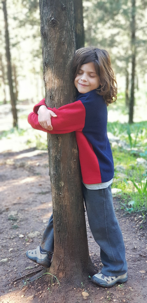 רגע של טבע. ילד מחבק עץ