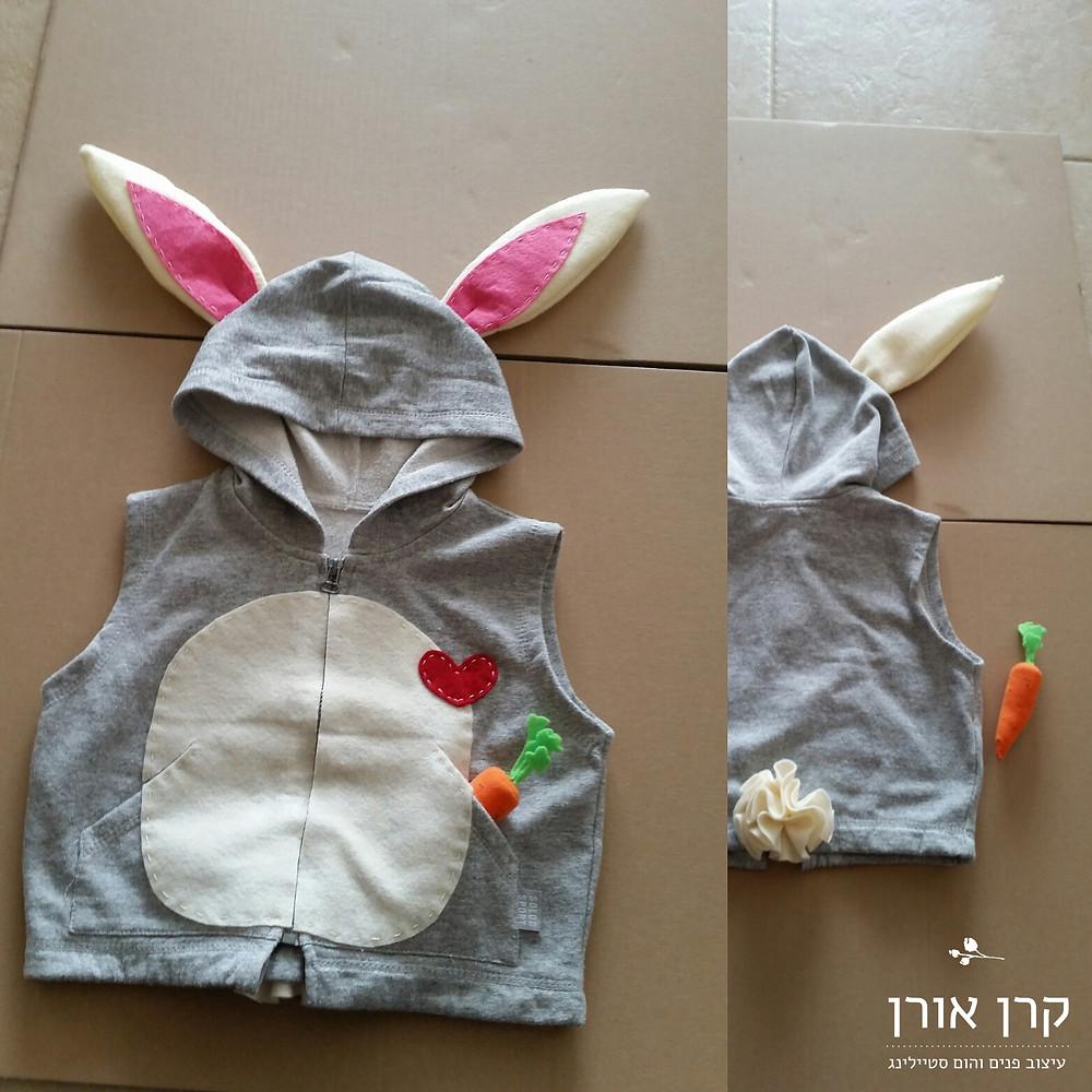 ככה נראית התחפושת המוכנה, קפוצ'ון ארנבת מתוק