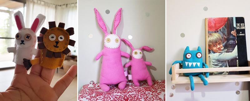 דוגמה ליצירות שלי. בובות ומפלצות צבעוניות ומתוקות