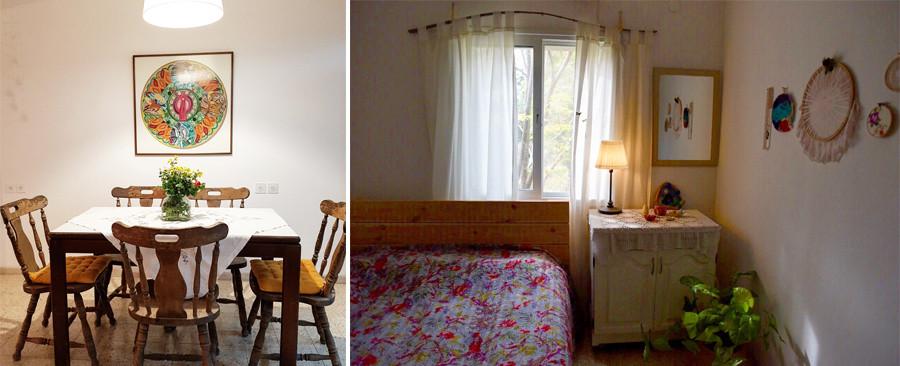 חדר שינה ופינת אוכל בבית מאוד אישי צילום ענבל נהיר