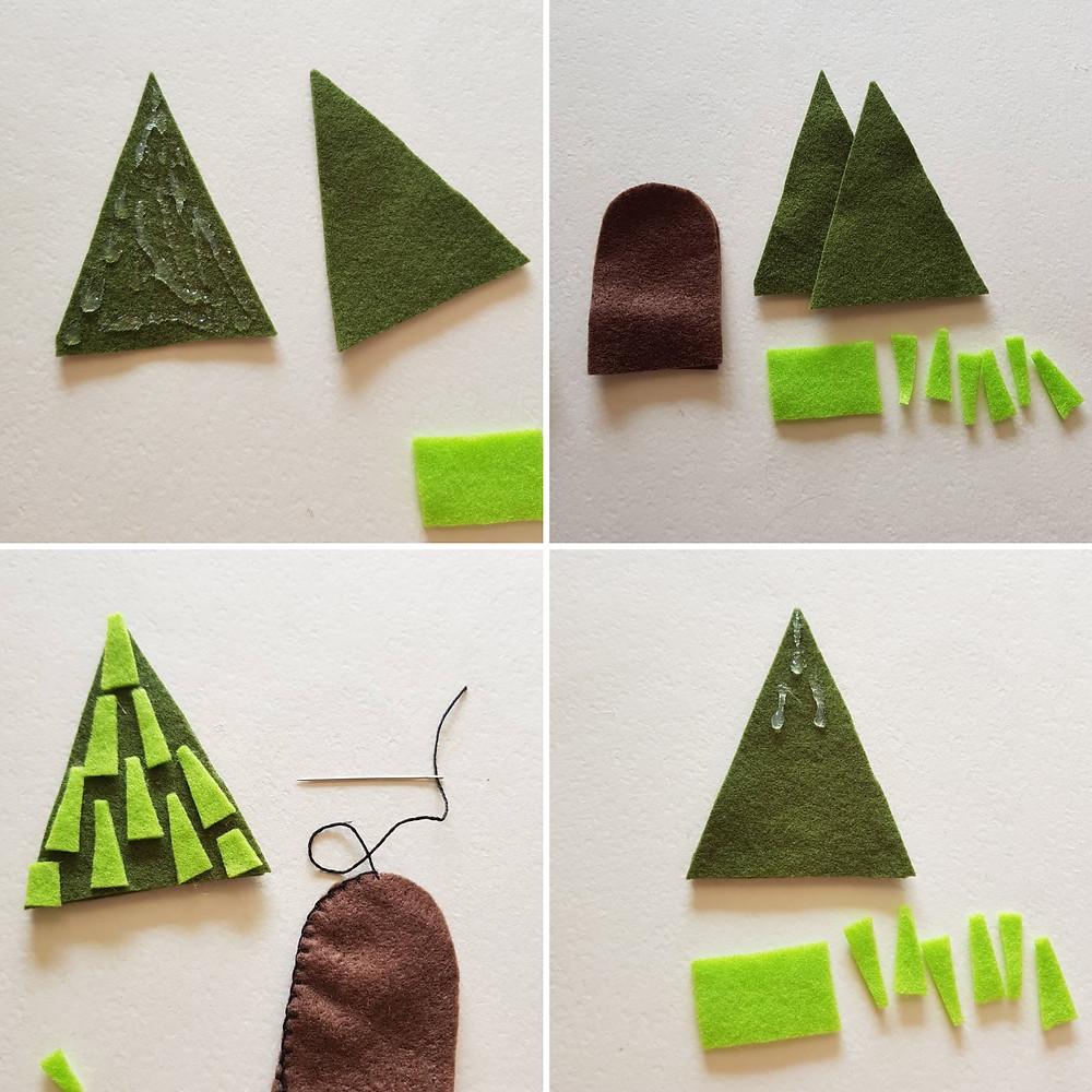 הכנת העץ עובדת באותה צורה של הכנת הגוף, מכינים את האצבעוני ומחברים אליו את חזית נוף העץ. פשוט מדביקים חתיכות של לבד בשני גוונים של ירוק.