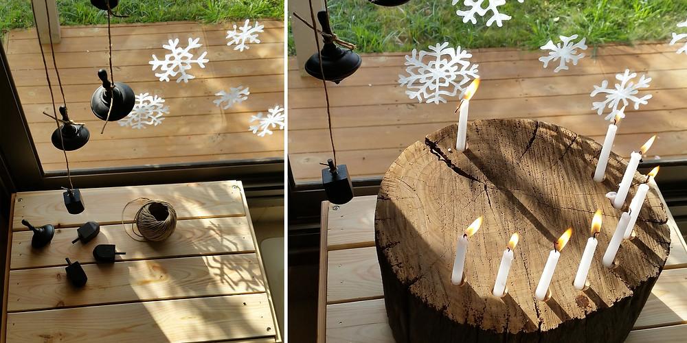 חנוכייה מגזע עץ וסביבונים שחורים הפקה חגיגית לחנוכה עיצוב וצילום קרן אורן