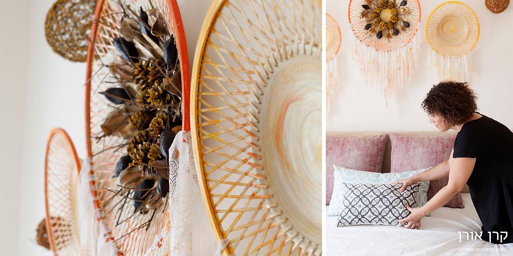 מנדלה מחומרים טבעיים וטקסטיל על המיטה עיצוב קרן אורן צילום הגר דופלט