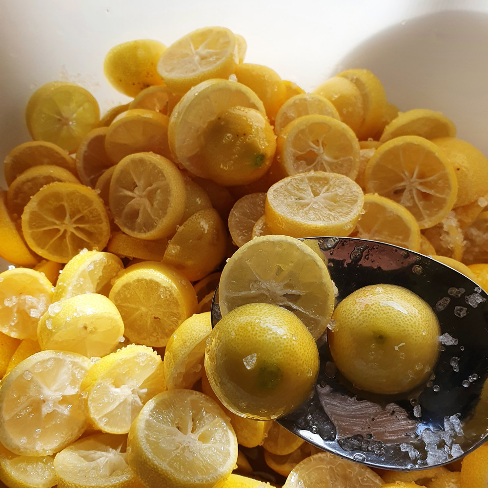 פרוסות של לימונים בתוך קערה מכוסים במלח גס.