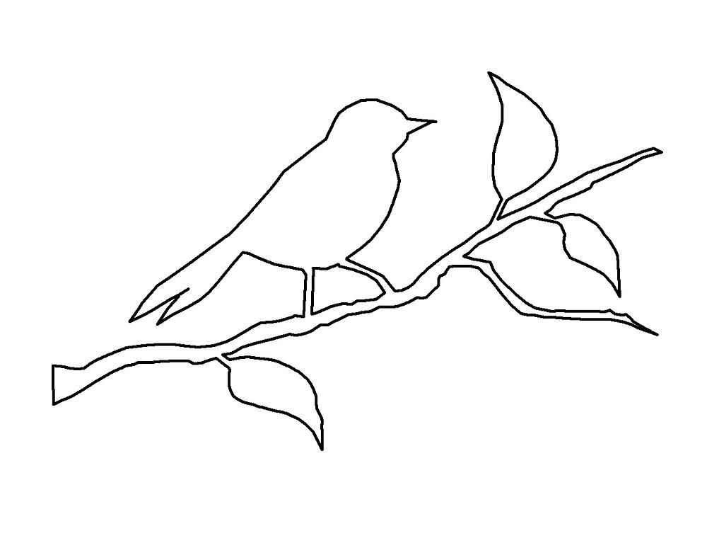 PDF צצלית של ציפור על ענף. קובץ להדפסה