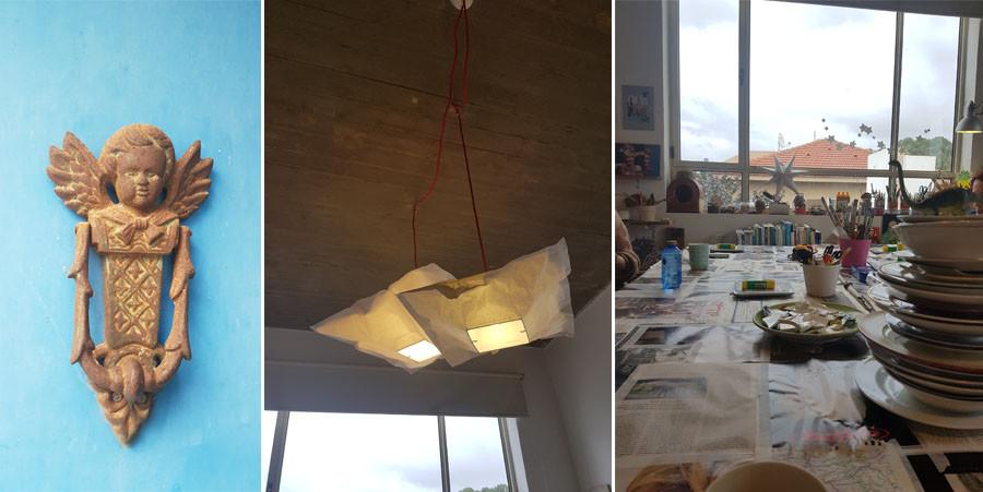 פינות בסטודיו של אביטל בר און איזקוב.