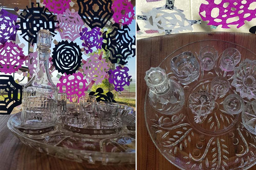 חנוכייה רדי-מייד מכלי זכוכית וקריסטל על מגש זכוכית