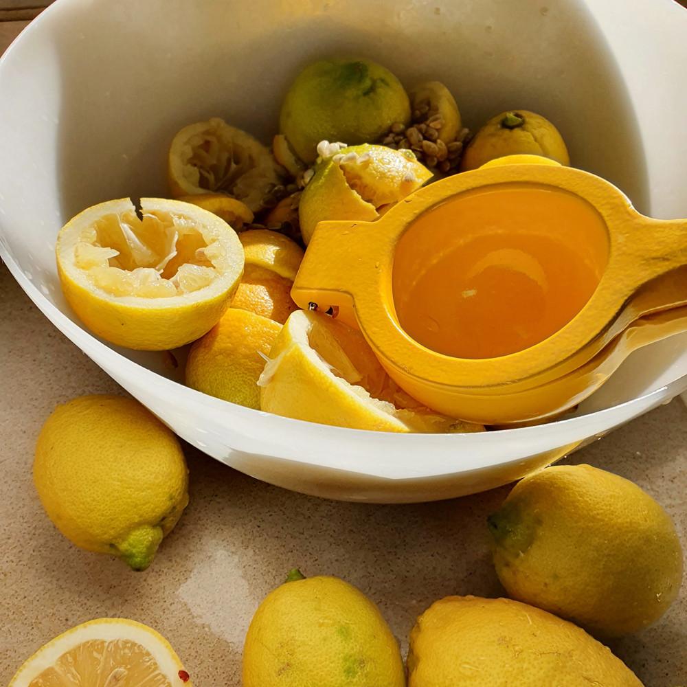 קערה עם קליפות של לימונים עם סוחט לימונים ידני בצבע צהוב.