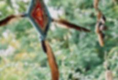 עין אינדיאנית מחוטי צמר צבעוניים.