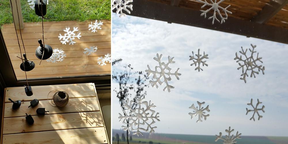פתיתי שלג בחלון הפקה חגיגית לחנוכה עיצוב וצילום קרן אורן