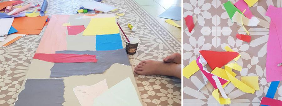 כיף של בלגאן. חתיכות נייר צבעוניות על קנבס ודבק פלסטיק