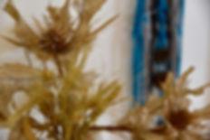 ענף של קוץ יבש על רקע עבודת מקרמה