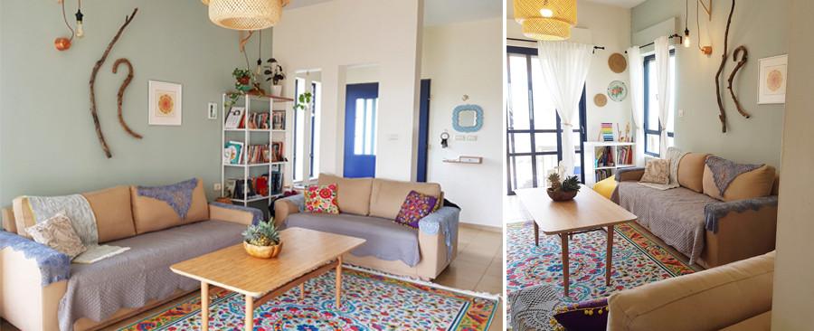 מבטים אל הסלון. עיצוב אישי המשלב של צבעים וטקסטיל.
