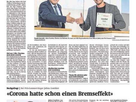Post 24: Biofruits SA aus Vétroz gewinnt UBS-Wirtschaftspreis Prix Sommet 2020