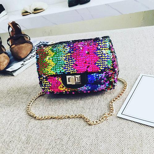 Multicolor sequin purse
