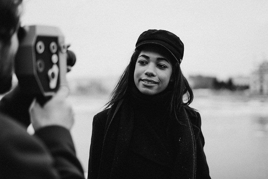 monochrome-photo-of-woman-wearing-black-