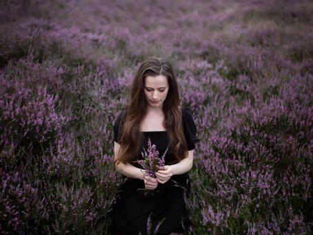 Dark Fantasy Photoshoot in the Heather Fields