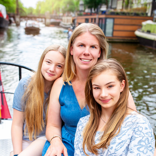 Family Photos on Canal Boat in Amsterdam.