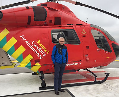 Steve Barker with a life saving Air Ambulance