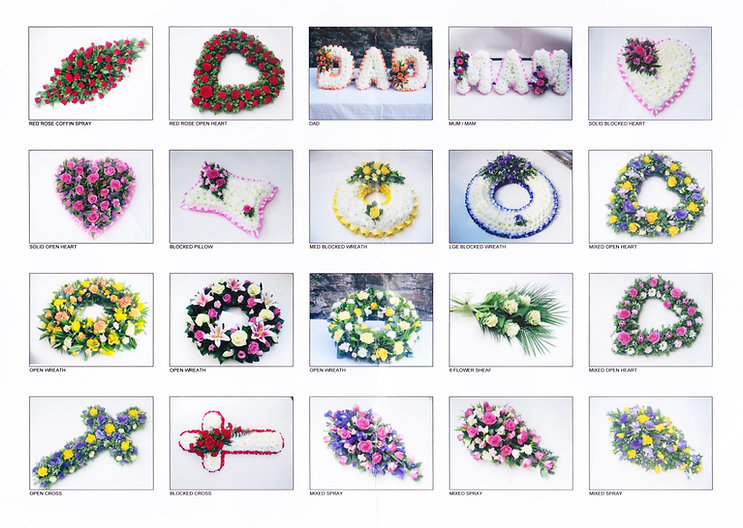 variety of floral tributes