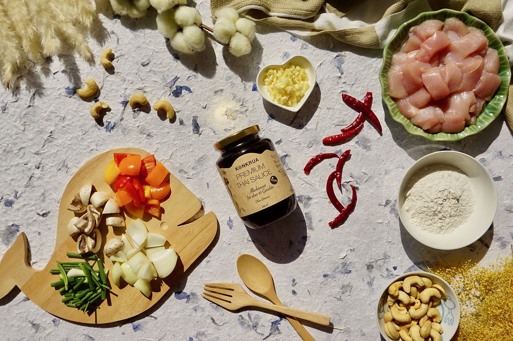 Zutaten für gebratener Brokkoli mit Garnelen