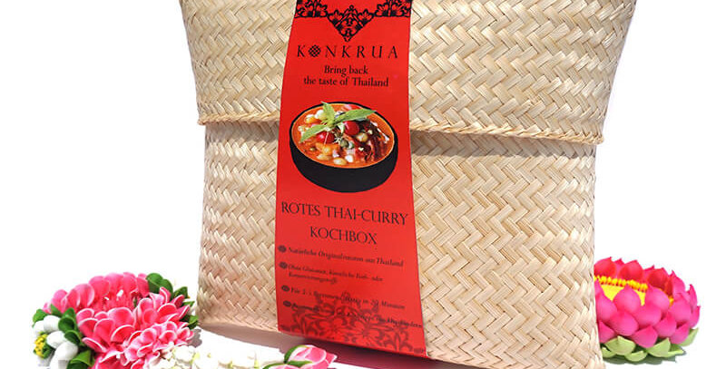 Rotes Thai-Curry Kochbox (für 3-4 Portionen) in der Bambusbox