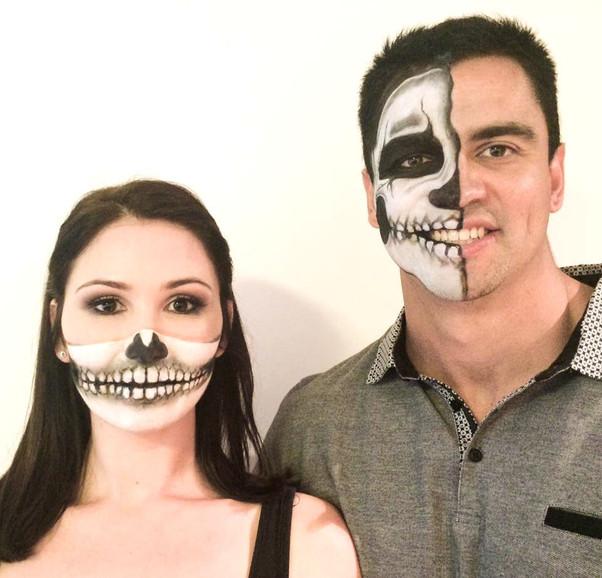 His & Hers Half Skull Halloween Makeup