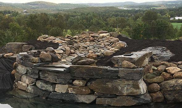Plongeon naturel chute d'eau et paysagement résidentiel