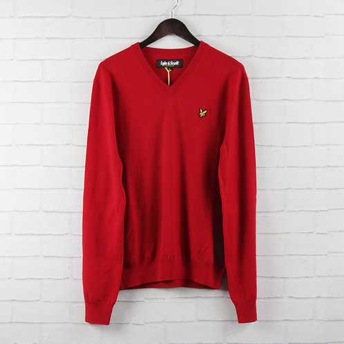Lyle & Scott Red Merino V