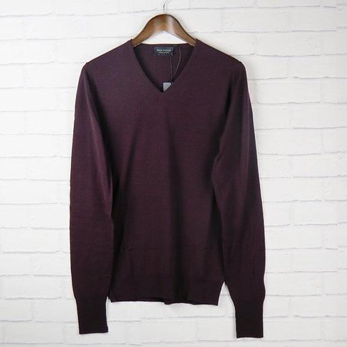 Smedley Burgundy V Neck Sweater