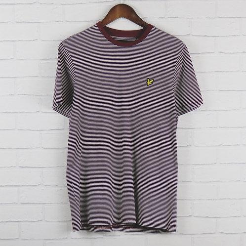 Lyle and Scott Burgundy Stripe T-Shirt