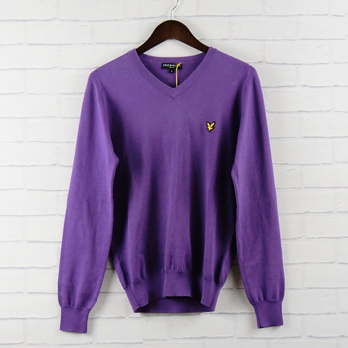 Lyle & Scott Purple Cotton V