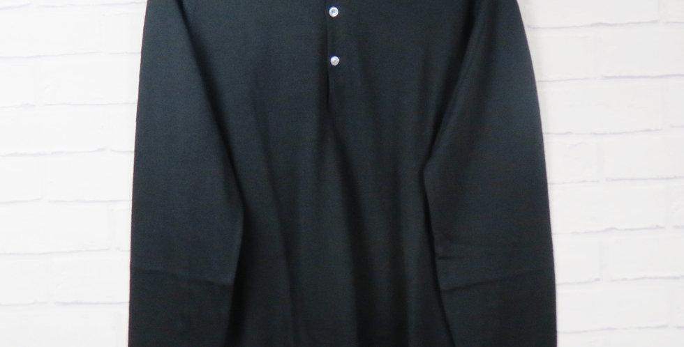 John Smedley Black Long Sleeve Merino Polo