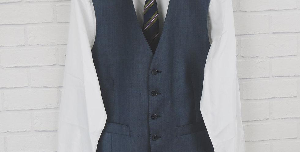 Blue Sharkskin Suit Waistcoat