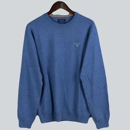 Gant Cotton/Wool Crew Sweater Blue