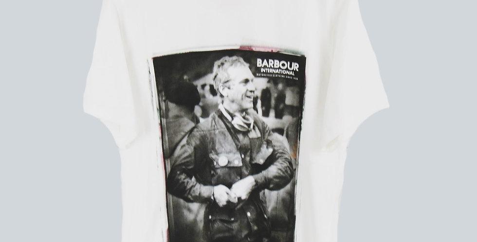 Barbour Steve McQueen White Laughter T-Shirt