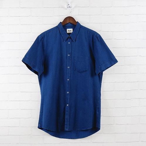 Acne Indigo Denim Short Sleeve Shirt