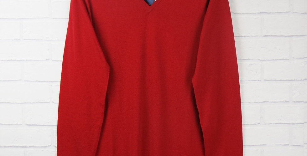 John Smedley Red V Neck Sweater