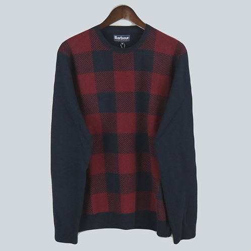 Barbour Buffalo Crew Sweater - Red & Navy