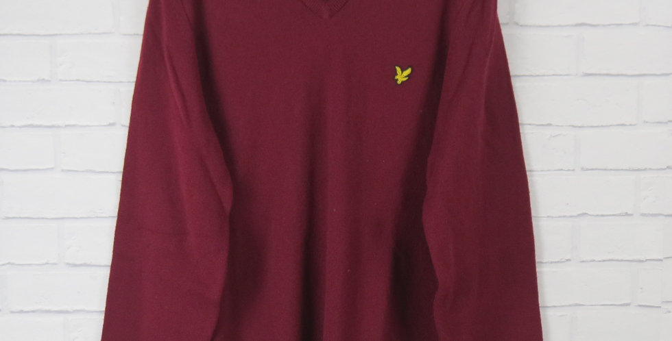 Lyle & Scott Pure New Wool V Neck Burgundy