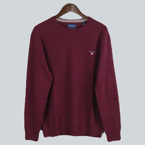 Gant Superfine Lambswool Crew Sweater Burgundy