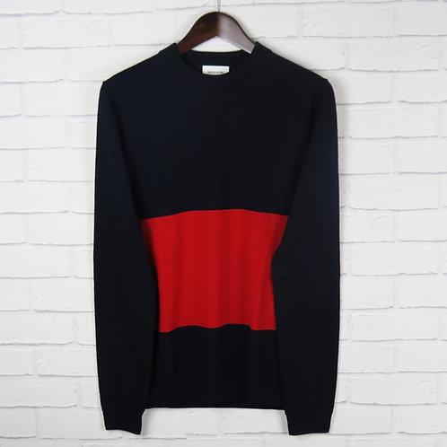 Wood Wood Navy and Red Merino Wool Sweater